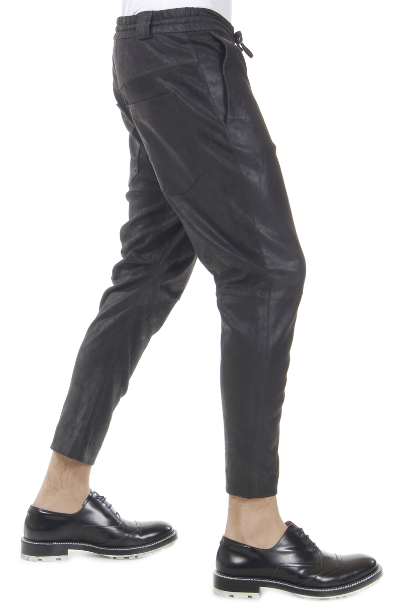 DROMe Men Leather Jogging Pants - Spence Outlet