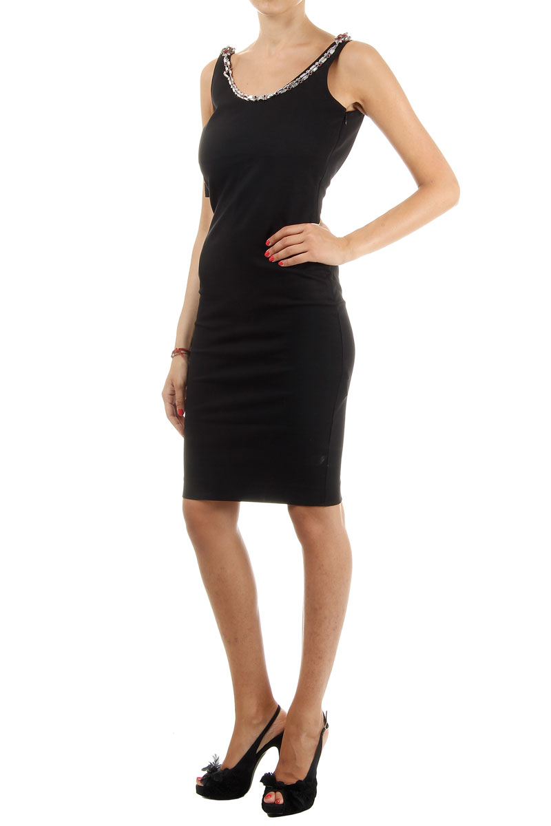 dsquared2 sheath black dress with necklace spence