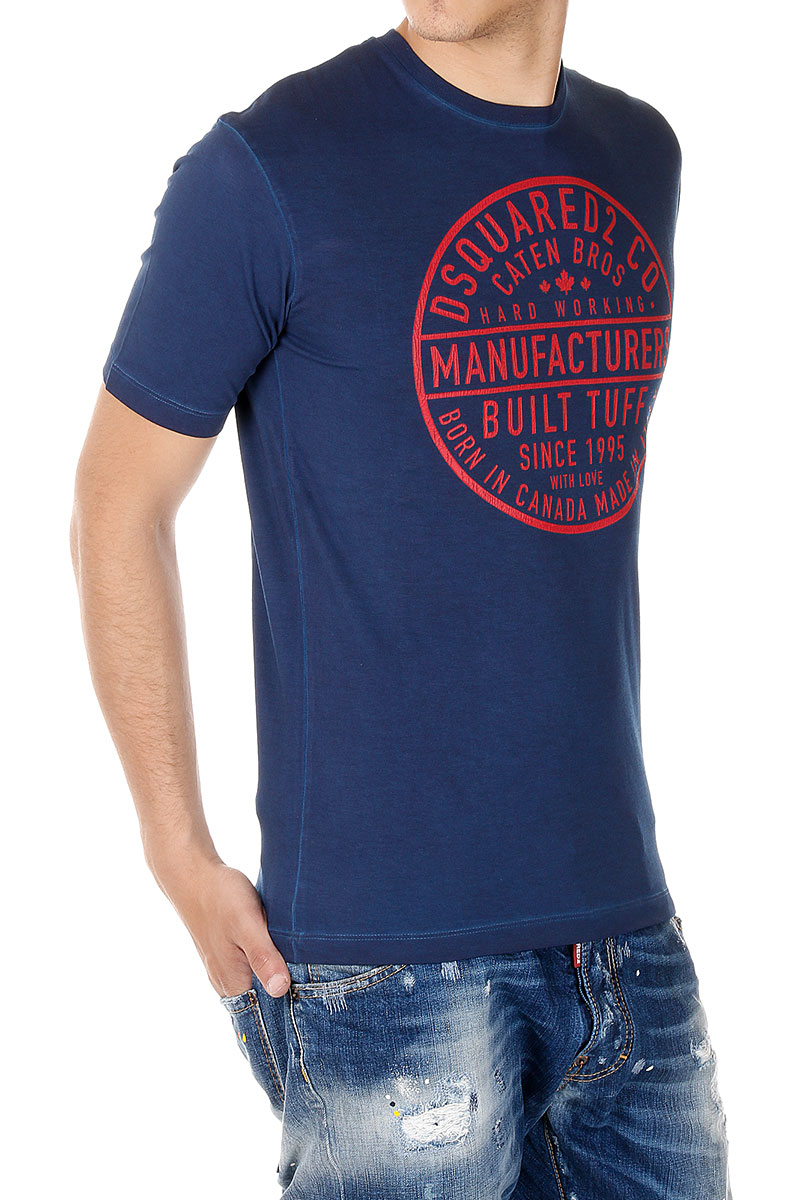 Dsquared2 dsquared men print blue cotton crewneck tee t for Shirts made in italy