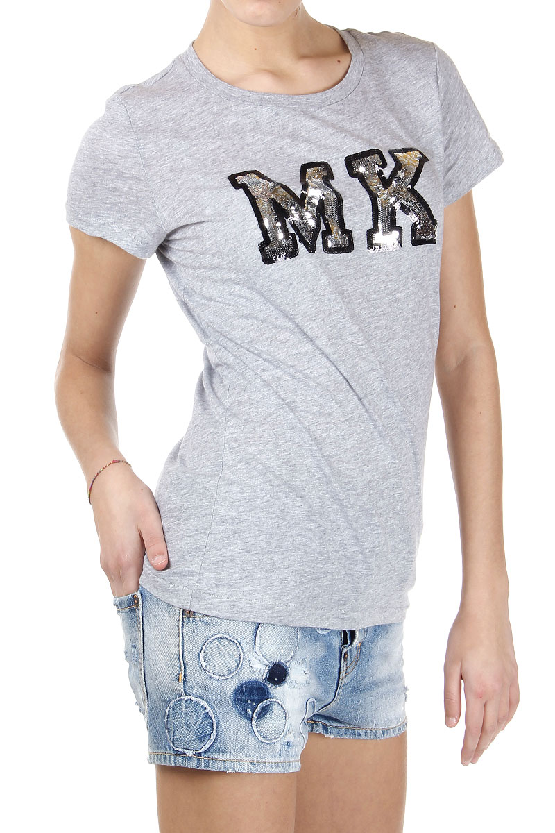 michael kors women cotton t shirt with sequins spence outlet. Black Bedroom Furniture Sets. Home Design Ideas