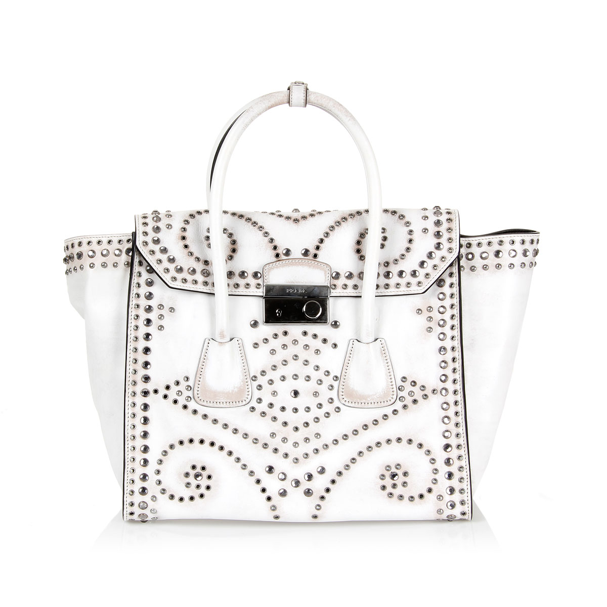 Prada Women Studded Leather shopping bag vintage effect - Spence ...