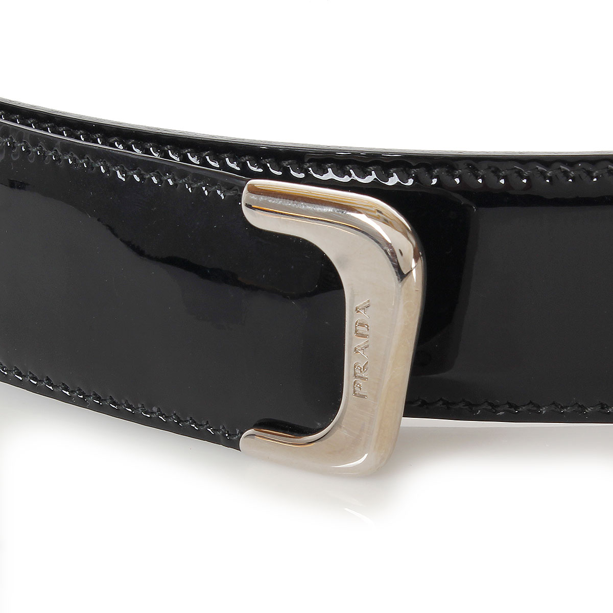 prada white patent leather belt