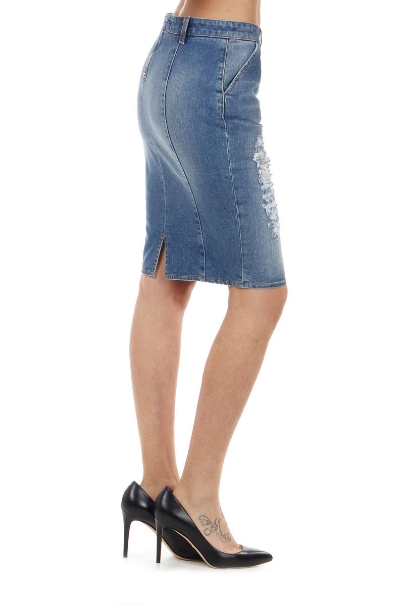 pinko destroyed denim skirt spence outlet