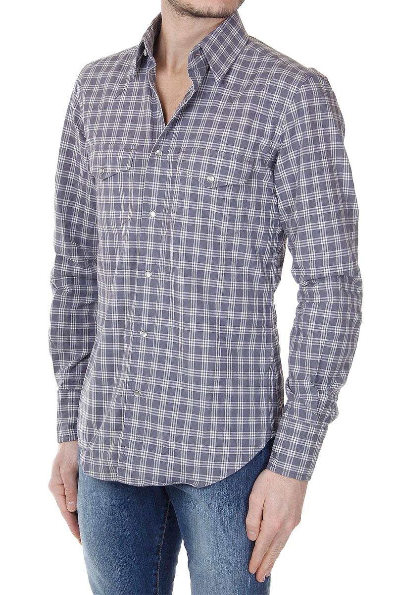 tom ford menschen grau kariertes lang rmeliges hemd aus baumwolle neu ebay. Black Bedroom Furniture Sets. Home Design Ideas